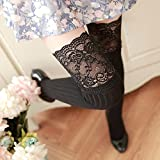1Pair Female Sexy Stocking Patchwork Warm Long 2018 Long Lace Fashion Women's Stocking,Black