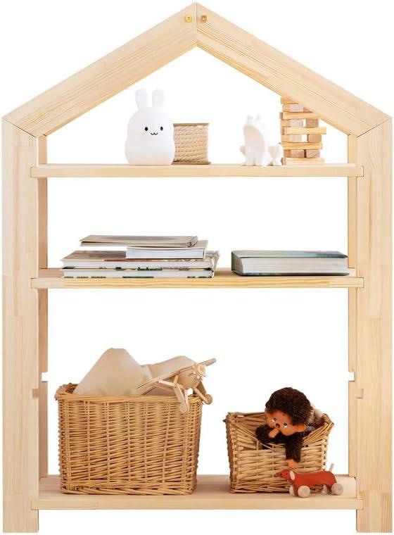 Selsey Young Kinderregal Regal in Hausform aus Holz mit 3 Ablagen f/ür B/ücher und Deko 95x73x40 cm