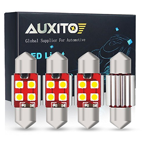 "AUXITO Extremely Bright CANBUS Error Free 4-SMD 3030 Chipset 31mm (1.25"") DE3175 DE3021 Festoon Xenon White LED Bulbs Replacement for Map Dome License Plate Lights Lamps (Pack of 4)"