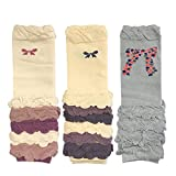 Bowbear Colorful Baby Leg Warmers Set of 3, Half Ruched and Bows