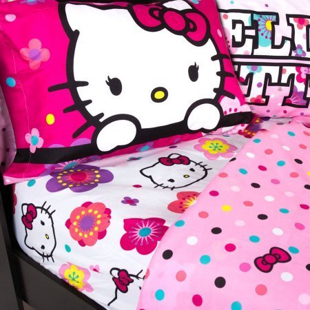 Adorable Hello Kitty Bedding Sheet Set, Floral Ombre Theme, Pink, Full