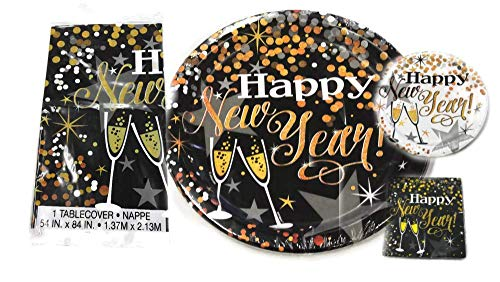 New Year's Eve Disposable Tableware Dinnerware Set Dinner Plates Dessert Plates Napkins Plastic Table Cloth Party Supplies Favors for 16 Guests Bundle of 49 Items ()