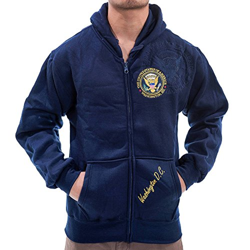 Washington DC Presidential Seal Zippered Hoodie, Navy, X-Large (Seal Presidential)