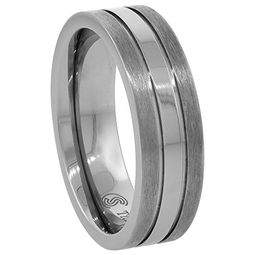 (Titanium 7mm Wedding Band Ring Stripe Center Flat Comfort Fit, size 9)