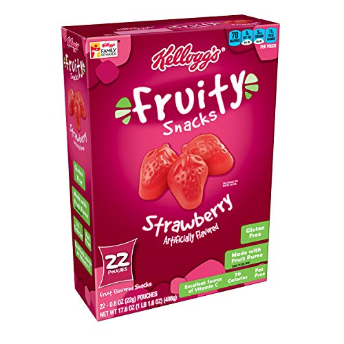 Fruit Strawberry Snacks (Kellogg's Fruity Snacks, Strawberry, Gluten Free, Fat Free, 17.6 oz (22 Pouches))