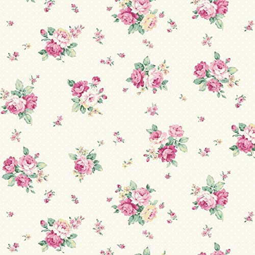 Sweet Rose~Small Pink Rose Bouquets on White with Dots, Quilt Gate Cotton - Cotton Fabric Rose