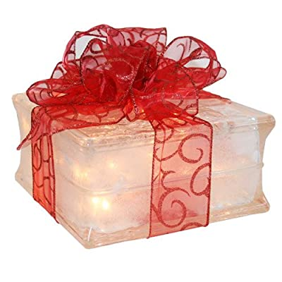 Lighted Glass Block with Sheer Red Ribbon