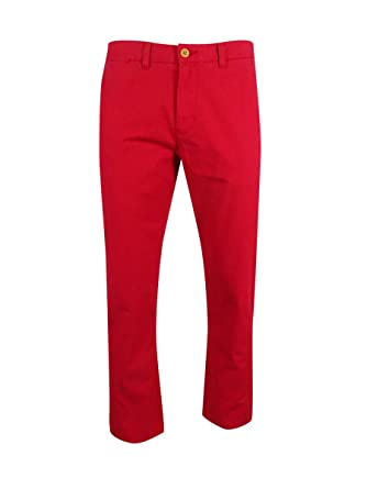 Tommy Hilfiger Mens Custom Fit Chino Pants (32X30, Red)