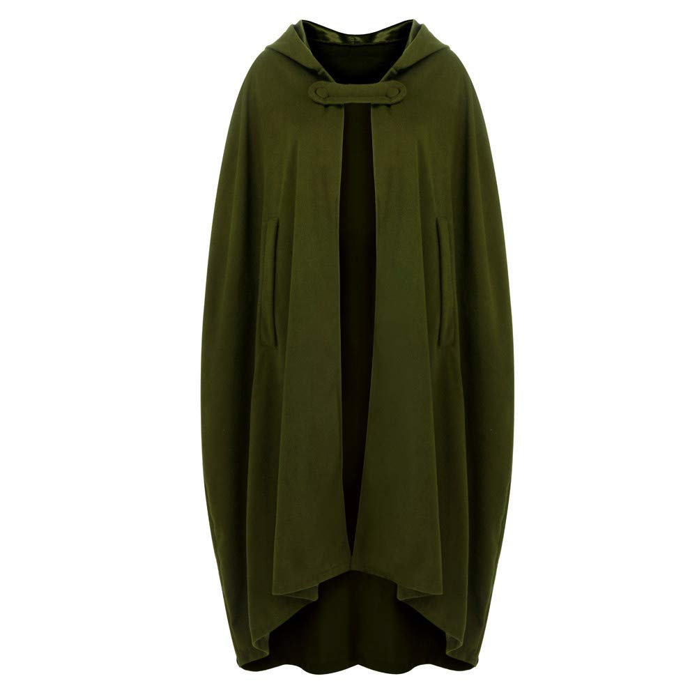Halloween Cosplay Costumes Party Capes Unisex Christmas Day Hooded Cloak Medieval Cape (Army Green B, L) by Hotcl (Image #2)
