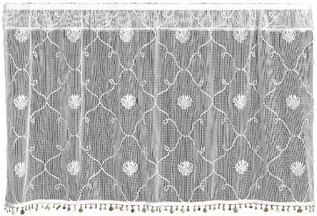 Heritage Lace Beach Trellis 42-Inch Wide by 30-Inch Drop Tier with Trim, White