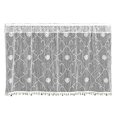 Heritage Lace Beach Trellis 42-Inch Wide by 24-Inch Drop Tier with Trim, White 6340W-4224HT