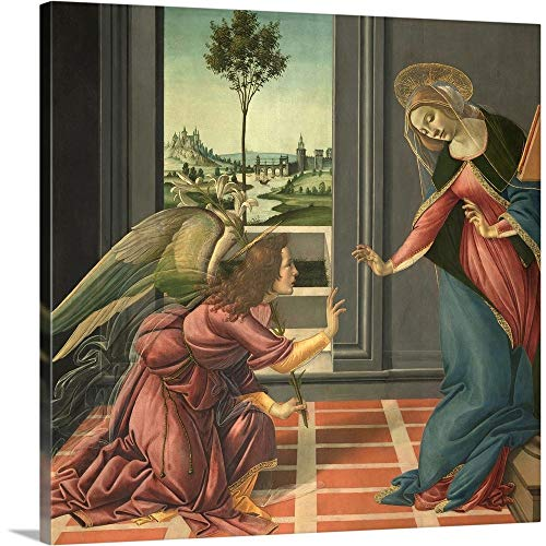 GREATBIGCANVAS Gallery-Wrapped Canvas Entitled Annunciation, by Botticelli, 1489-1490. Uffizi Gallery, Florence, Italy by Sandro Botticelli - Botticelli Annunciation