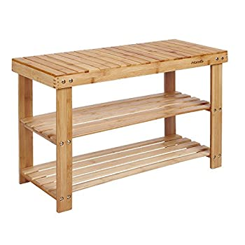 HOMFA Natural Bamboo Shoe Rack Bench 2 Tier Shoe Organizer Entryway Seat Storage Shelf Hallway Furniture(Q12-4)