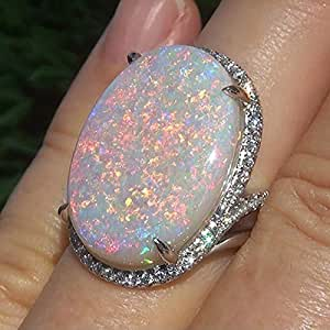 KathShop White Oval Female Opal Ring White Gold Color Jewelry Vintage Party Engagement Wedding Rings for Women