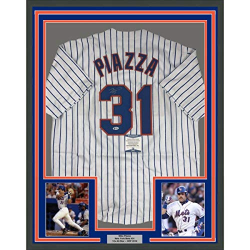 Framed Autographed/Signed Mike Piazza 33x42 New York NY Pinstripe Baseball Jersey Beckett BAS - Pinstripe Mets Jersey Replica Mlb