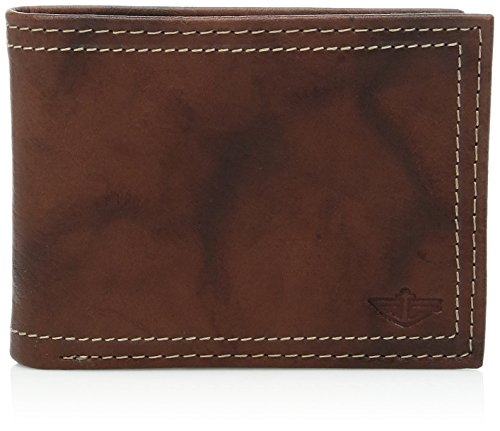 Dockers Men's Bifold Leather Wallet - Thin Slimfold RFID Blocking Security Smart Extra Capacity,Brown Emboss