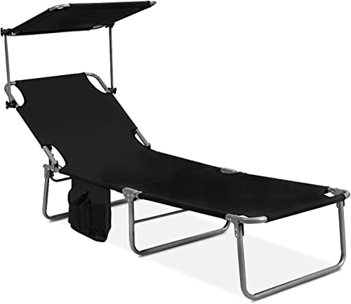 GYMAX Folding Chaise Longue - the best outdoor chaise lounge for the money