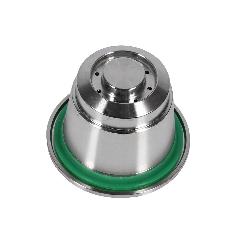 Capsule de Caf/é R/éutilisable pour Nespresso Acier Inoxydable avec la Cuill/ère Compatible pour la Machine Nespresso