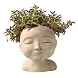 "ART & ARTIFACT Head of a Man or Woman Indoor/Outdoor Resin Planter - Plants Look Like Hair, 9"" Tall"