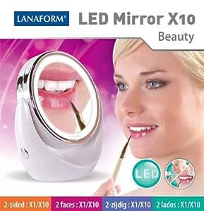 LANAFORM LED Mirror X10 Independiente Alrededor Perlado - Espejo (Batería, 1,5 V, 198 mm, 113 mm, 208 mm, 541 g)