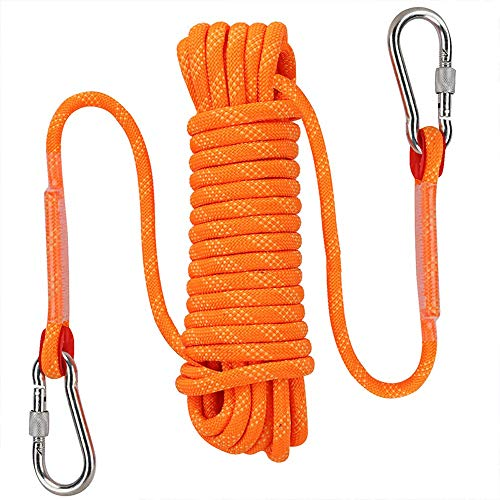 AOSExpert Outdoor Climbing Rope, High Strength Cord Safety Rope, Static Rock Climbing Rope, Fire Escape Safety Rappelling Rope. 10mm Diameter(Orange, 32) ()