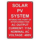 Weatherproof Plastic Vertical Solar PV System Interactive Point Of Sign with English Text
