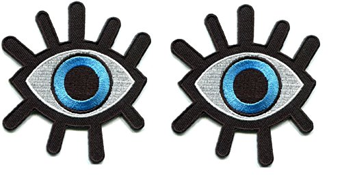 2 Pcs.Eye eyeball tattoo wicca occult goth punk retro applique iron-on patch ()