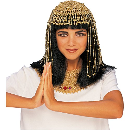 [Deluxe Gold Cleopatra Bead Headpiece Roman Party Accessory Hat Cap Goddess Sexy] (Roman Goddess Accessories)