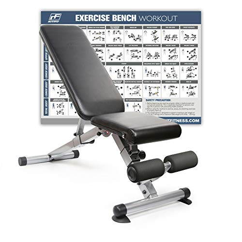 RitFit Ajustable/Foldable Utility Bench for Home Gym, Weightlifting and Strength Training – Bonus Laminated Poster with 36 Total Body Exercises