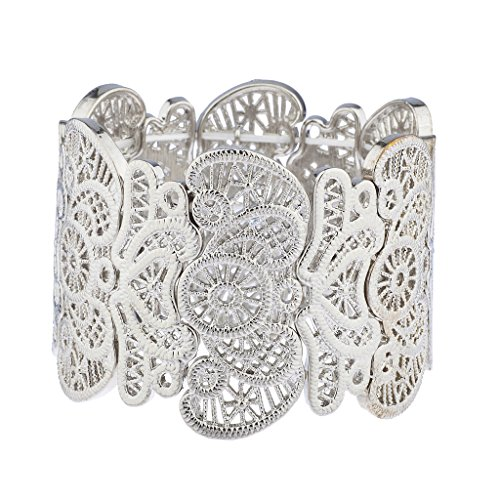 Large Floral Filigree - Lux Accessories Silvertone Filigree Casted Floral Stretch Bracelet