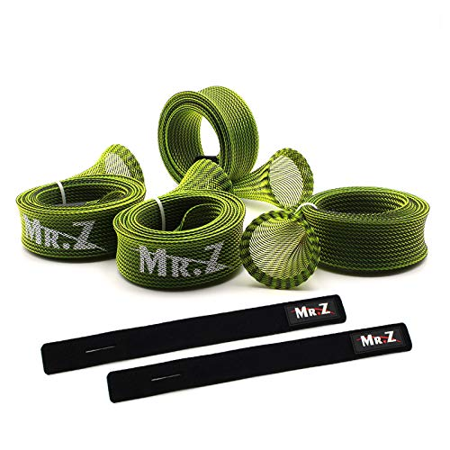Mr. Z Pack of 4 Casting Fishing Rod Sleeves with 2 Rod Straps Fishing Rod Covers Pole Jacket Rod Socks (Green)