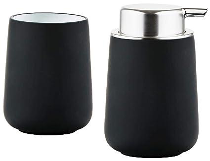Unbekannt Zona – Dispensador de jabón y Vaso para cepillos de Dientes Set Nova Porcelana Negro