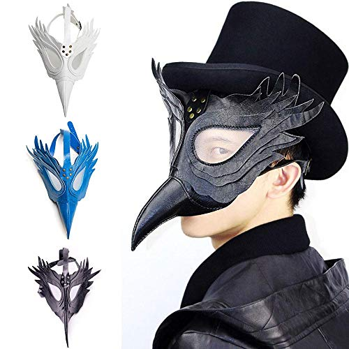 Aolvo Plague Doctor Mask, Faux Leather Bird Beak Mask Long Nose Cosplay Steampunk Plague Doctor Mask White for Christmas Party and Role-Playing -