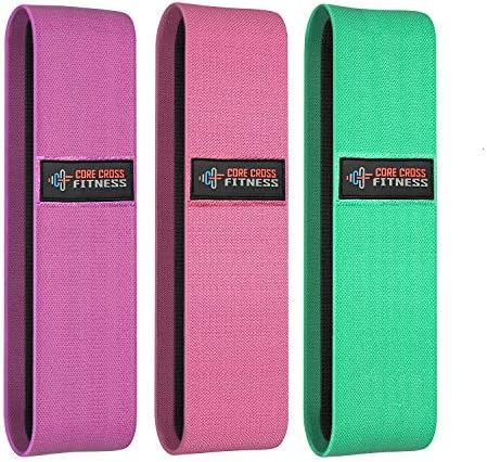 Core Cross Fitness Fabric Resistance Bands Set For Women & Men [Set of 3] Exercise Bands For Glutes, and Legs Fitness, Ideal Booty Bands with Carry Bag & Workout Manual – Heavy Resistance Bands Set