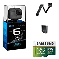 GoPro HERO6 Black w/ 3-Way Grip, Battery and Memory Card