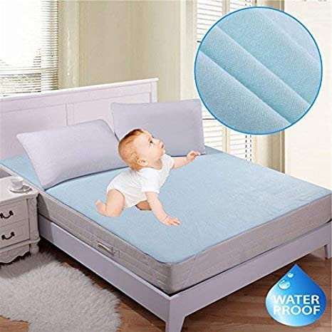 Star Bazaar, Latest Home Waterproof Hypoallergenic Mattress Protector for King Size Bed(Blue, 72x78-inch)
