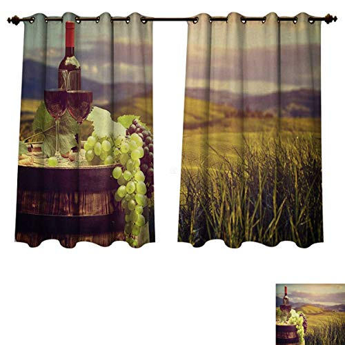 Anzhouqux Wine Blackout Thermal Curtain Panel Italy Tuscany Landscape Rural Vineyard Autumn Harvest Grapes Drink Viticulture Window Curtain Fabric Green Black Brown W63 x L63 inch