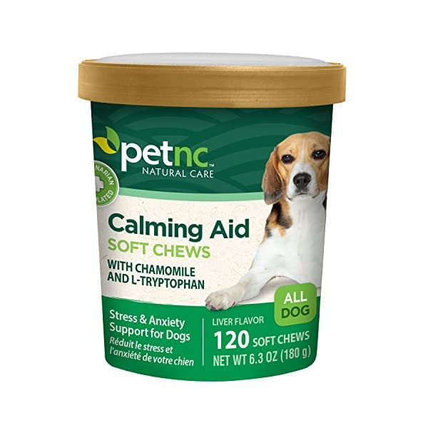 PetNC Natural Care Calming Aid Soft Chews for Dogs, 120 Count