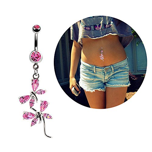 Belly Button Navel Ring Surgical Steel Crystal Flower Dangle Curved Barbell Bar Body Piercing Jewelry (Butterfly Silver Navel Ring)