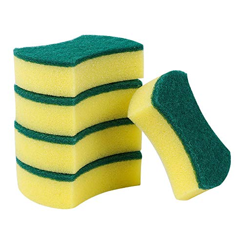 30PCS Non-Scratch Cleaning Scrub Sponge Cleaning Sponges Reusable Universal Sponge Brush Set Scrubbing Sponges Kitchen Cleaning Tools Helper (B, Yellow)