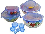 Tosnail 6 Pack Transparent Multisize Silicone Lids & Stretch Lids, New Way to Preserve Food & Reusable Stretch Lids for Containers