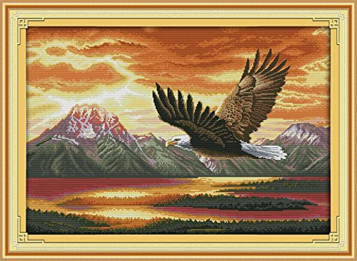 Joy Sunday® Cross Stitch Kit 14CT Counted Embroidery Kits Unprinted Needlework- The flying eagle (2) 63×46CM - Flying Eagle Embroidery