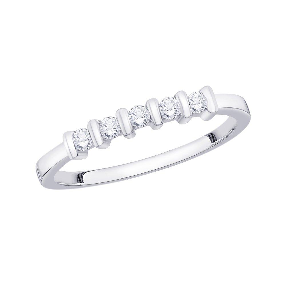 1//6 cttw, G-H,I2-I3 Diamond Wedding Band in 10K White Gold Size-6
