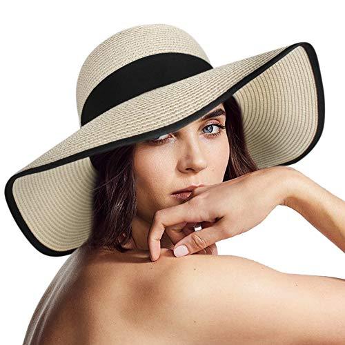 Wide Brim Sun Straw Hats for Women UPF 50 Foldable Roll up Floppy Summer Beach Hat Beige/Black (Wide Brim Black Hat Women)