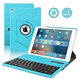 iPad 9.7 Keyboard Case for 2018 6th Gen,iPad 2017 5th Gen,iPad Pro 9.7 inch, iPad Air 2& 1, 360 Rotatable,Built-in Magnet,Removable Wireless Bluetooth Keyboard, Case with Keyboard for 9.7 inch (Blue)