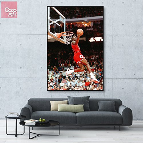 - GoGoArt ROLL Canvas print wall art home picture photo big poster abstract modern (no framed no stretched not oil painting) Michael Jordan nba sport Chicago bulls dunk A-0029-1.5 (24 x 36 (inches))