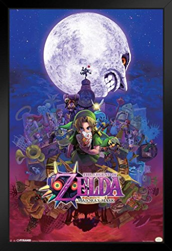 Pyramid America The Legend of Zelda Majoras Mask Nintendo Fantasy Video Game Series Link Princess Framed Poster 14x20 inch (League Of Zelda Breath Of The Wild)
