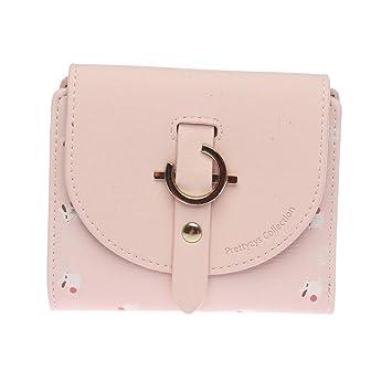 Cvthfyk Patrón de Flores de Cartera Tri-Fold Mini Wallet Cuero de la PU para Mujer Lindo (Color : Pink): Amazon.es: Hogar