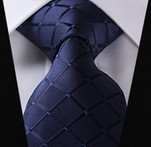 HISDERN Extra Long Check Tie Men's Necktie Blue by HISDERN (Image #2)