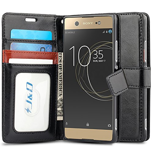 J&D Case Compatible for Xperia XA1 Ultra Case, [Wallet Stand] [Slim Fit] Heavy Duty Protective Shock Resistant Flip Cover Wallet Case for Sony Xperia XA1 Ultra Wallet Case - Black (Best Price For Sony Xperia Z)
